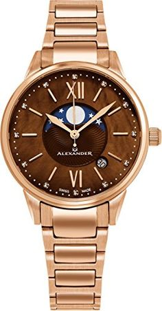Alexander Monarch Vassilis Moon Phase Date 35 MM Brown Mother of Pearl  DIAMOND Large Face Stainless 3ff7ad02d48