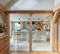 Border Oak Kitchen Open Plan to the Dinning area Barn Kitchen, Open Plan Kitchen, New Kitchen, Kitchen Ideas, Kitchen Inspiration, Cottage Plan, Garden Cottage, Blue Green Bathrooms, Oak Framed Extensions