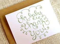 Items similar to Baby Shower Thank You Cards - Gender Neutral - Set of 10 Simple Hand Lettered Baby Shower Thank You Notes in Lime or Olive Green on Etsy Baby Thank You Cards, Keep It Simple, New Baby Gifts, Gender Neutral, Olive Green, Hand Drawn, New Baby Products, How To Draw Hands, Lime