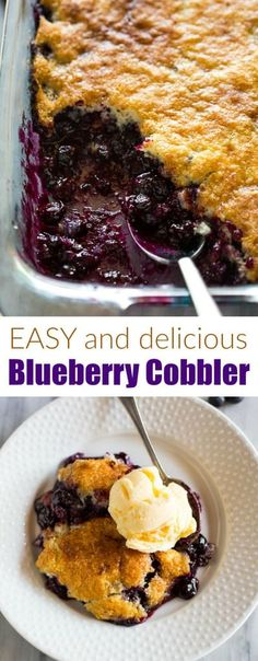 An easy Blueberry Cobbler recipe made with fresh or frozen blueberries and basic pantry ingredients. via easy Blueberry Cobbler recipe made with fresh or frozen blueberries and basic pantry ingredients. Blueberry Jelly, Blueberry Cobbler Recipes, Blueberry Oatmeal, Easy Cobbler Recipe, Fruit Cobbler, Blueberry Cobler, Blueberry Recipes Using Bisquick, Frozen Blueberry Recipes, Easy Blueberry Desserts