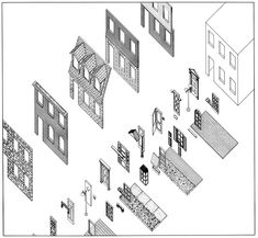 Highrise of Homes – Theoretical project by SITE for urban locations in the USA – 1981 – Catalogue of multiple wall materials, doors, windows and architectural artifacts