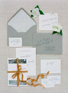 Grey and burnt orange invitation suite, image by Jose Villa.