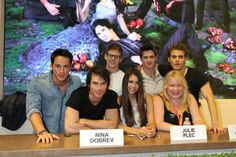 The cast and Julie Plec