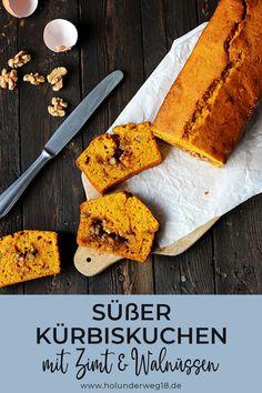 Saftiger Kürbiskuchen mit Walnüssen und Zimt: Dieser einfache Rührkuchen wird mit Kürbis gebacken - das macht den Kuchen besonders saftig und Gewürze wie Zimt, Lebkuchengewürz und Muskat machen ihn wunderbar herbstlich. Pumpkin Spice Kuchen sozusagen :)#kürbiskuchen #kürbiskuchenrezept #saftigerkürbiskuchen