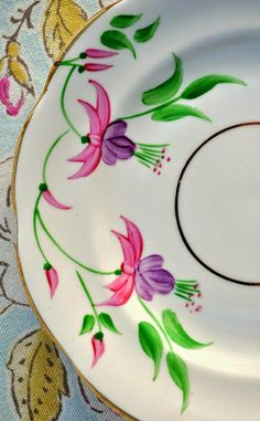 hand painted pink fuchsia flower pattern vintage china