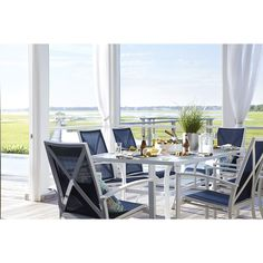 Shop Allen + Roth Ocean Park Glass Top White Rectangle Patio Dining Table  At Lowes