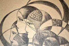 Vintage drawing of Flapper girls in hats Art Deco Drawing  came from an estate of a local artist, circa 1920's - 1930's