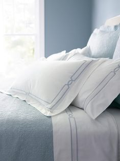 Inspired by the linens on the finest, five-star hotel beds, our exclusive Resort Fretwork Sheet Set is a luxury to enjoy at home every night. Sateen woven of long-staple cotton and mercerized finished, the flat sheet and pillowcases are elegantly framed with fretwork satin stitching.