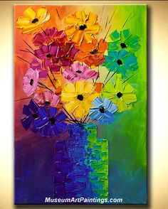 Palette Knife Painting Abstract Flower 011