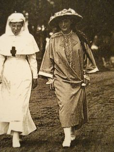 Grand Duchess Anastasia with a nurse: 1916 (this is a crop from a larger photo that also includes Maria).