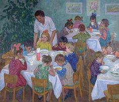 Обед в детском саду.  : Воробьева Н.Д. : 1968 г.