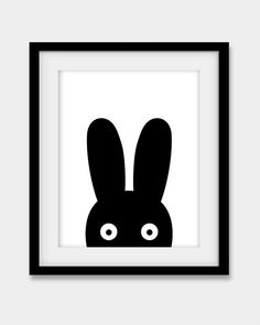 "Bunny Print, Nursery Print, Nursery Wall Art, Black and White Nursery Decor, Large Print 16x20"", Scandinavian Art, Bunny Poster, Black Bunny"