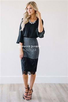Charcoal Tweed Lace Hem Skirt