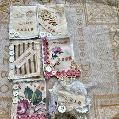 """154 Likes, 24 Comments - Bohemian Rhapsody GB (@bohemianrhapsody3038) on Instagram: """"Fabric tags for a Parisian journal and my first snippet roll #journal #journaling #junkjournal…"""""""