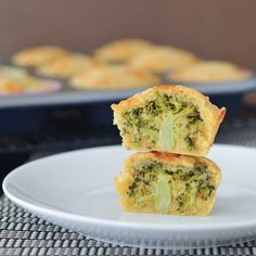 Vegan Broccoli Cheese Muffins - fluffy and cheesy - this fun recipe hides a whole tree of broccoli inside - tasty golden muffins with a fun veggie surprise! Vegan Muffins, Cheese Muffins, Corn Muffins, I Love Food, Good Food, Yummy Food, Crockpot, Broccoli And Cheese, Raw Broccoli