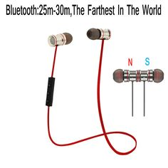 IPUDIS Magnet Metal Sports Bluetooth Earphone Wireless Earbud Stereo Headset With Mic