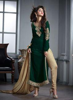 Green Wholesale Designer Suit In Velvet Fabric
