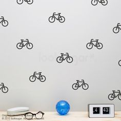 Bicycle Wall Decals with Wallpaper / Wall Stencil Effect . Bicycle Decals . Bicycle Stickers . Bike Wall Decals . AP0048TF by looksugar on Etsy https://www.etsy.com/listing/244788616/bicycle-wall-decals-with-wallpaper-wall