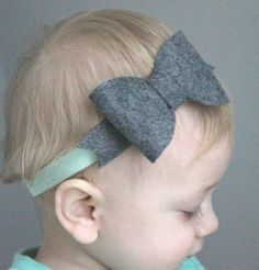 Gray and Mint Headband   Baby Girl Gray Headband   Green Headband   Gray Headband