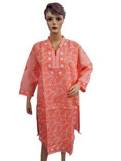 BOHO LONG EMBROIDERED KURTI PINK TUNIC TOP PAISLEY DESIGN COTTON DRESS KAMEEZ XL