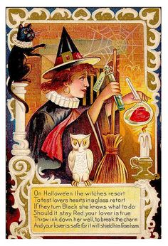 I like vintage Halloween illustrations and photographs, and other inspirations. I even like to get in touch with my inner drag queen with Halloween-inspired finger nails! Halloween Logo, Retro Halloween, Vintage Halloween Cards, Victorian Halloween, Halloween Wishes, Vintage Holiday, Holidays Halloween, Vintage Cards, Vintage Postcards
