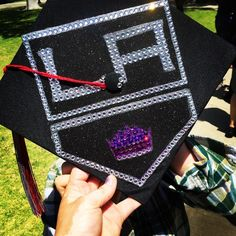 LA Kings inspired graduation cap