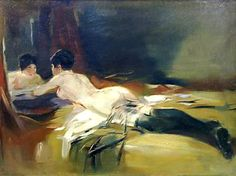 One of his attractive young models. The atmosphere of the Roaring Twenties comes to life here. Van Meegeren enjoyed to be an artist and a womanizer at the same time as may be seen from this thrilling painting. www.meegeren.net/...