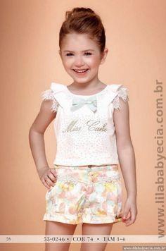 Conjunto Infantil Blusa com Shorts Miss Cake Moda infantil 530246 - Lila Baby e Cia Moda Infantil
