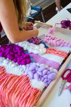 I M A G I N E weaving and learning how to dye wool in the beautiful southern highlands. Natalie's studio, Green Bridge studios is in Moss Vale wher. Weaving Textiles, Weaving Art, Tapestry Weaving, Loom Weaving, Hand Weaving, Yarn Crafts, Fabric Crafts, Kids Crafts, Diy Laine