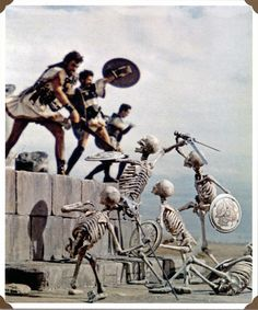 Ray Harryhausen Jason and the Argonauts, Ray once quoted that if he could go back and make ONE CHANGE in the 1963 Classic, it would to make the eerie skeleton fight scene at night. Marauding Skeletons and their madness easily would be more frightening after the sun goes down. He's right...