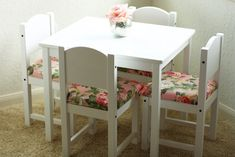 IKEA Hack: Children's Table and Chairs // Fancy Ashley - Diy Furniture Ikea Kids Table And Chairs, Ikea Table, Diy Table, Ikea Chairs, Playroom Table, Ikea Toddler Table, Lego Table, Bag Chairs, Room Chairs