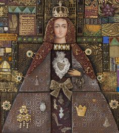 A detail of The Virgin of Valencia, a mixed media mosaic. Stunning work from Laurie Mika.