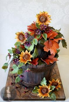 Rustic Buckets with Flowers - Cake by Tonya Alvey