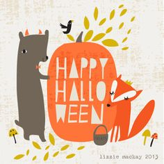 Adorable Lizzie Mackay illustration for Halloween and love how she uses the pumpkin as the background for the text