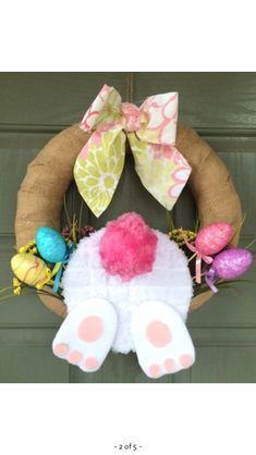 47 Super Ideas For Easter Door Decorations Bunny Diy Spring Door Wreaths, Holiday Wreaths, Holiday Crafts, Easter Wreaths Diy, Easter Projects, Easter Crafts, Easter Decor, Kids Crafts, Pom Pom Crafts