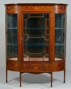 Inlaid Mahogany Vitrine, Beveled Glass : Lot 309