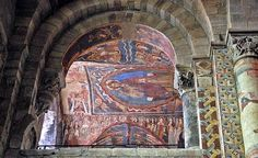 Detail of the painted vaulting at the Basilica of St Julian, Brioude, France, 11th-12th centuries
