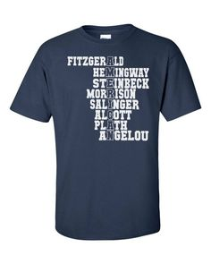 87630dff Famous American Writers Shirt - Patriotic Gift for Book Nerds English  Teachers 4th of July Classic and Contemporary US Literature Men Women