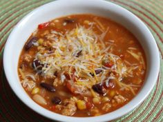 Turkey Taco Soup!  1/2 lb. ground turkey, 1 onion, 1 can drained black beans, 1 can pinto beans, 1 can diced tomatoes, 1 can drained corn.  Add 1 pk. reduced sodium taco seasoning and 1 pk. of dry ranch salad dressing mix.  Add 3 cups of water and cook for about 30 minutes. Serve with fat-free shredded cheddar cheese, light sour cream, hot sauce.  Souper simple!