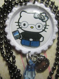 Hello Kitty Nerdy Steve Jobs Bottlecap by TinkerbevsTrinkets, $6.99