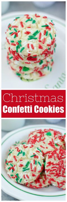 Christmas Confetti Cookies - soft and chewy sugar cookies rolled in Christmas sprinkles. Santa is going to love these cookies! Christmas Confetti Cookies - soft and chewy sugar cookies rolled in Christmas sprinkles. Santa is going to love these cookies! Chocolate Chip Shortbread Cookies, Toffee Cookies, Chewy Sugar Cookies, Spice Cookies, Yummy Cookies, Cookies Soft, Christmas Sprinkles, Christmas Desserts, Christmas Cookies