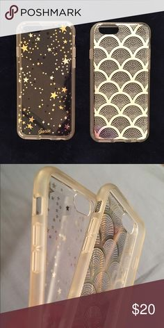 """2 Sonix iPhone 6s cases. Two clear hardback cases with softer """"bumper"""" sides. One has silver, gold and black little stars on the clear back. The other has like a sea shell pattern in silver on the clear back. I have used them both for a very short time. Selling because I constantly drop my phone and although these cases protected it very well, I bought a heavier case. Purchased these at Dillard's for $35 each. No flaws, except for a slight darkening of the sides which is very subtle. Sonix…"""