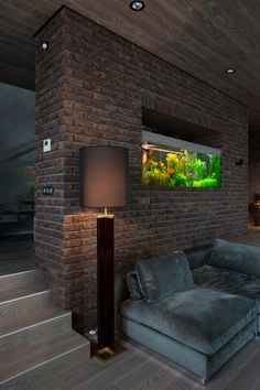 Modern home with exposed brick walls Home Interior Design, Interior Decorating, Interior Modern, Modern Decor, Home Decor Bedroom, Living Room Decor, Exposed Brick Walls, Living Room Designs, Aquarium