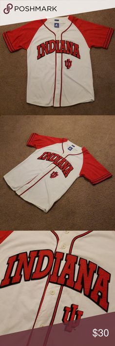 """VTG Starter Indiana IU Hoosiers Baseball Jersey L Men's vintage Starter Indiana / IU Hoosiers baseball style jersey.  Red and white in color.  Stitched logos.  Size is L / Large.  Chest = 22"""".  Button front.  Good used condition.  Has a couple light marks on back (see pics), but hard to see unless looking at details (just wanted you to be aware).  Cool vintage look!  Comes from a smoke free home. STARTER Shirts Sweatshirts & Hoodies"""