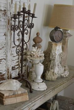 "A couple ""faded charm"" shabby chic pieces are beautiful accents for a shelf or mantle"