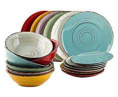 Ménagère grès émaillé, multicolore - 18 pièces