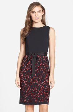 Nue by Shani Laser Cut Skirt Crepe Sheath Dress available at #Nordstrom