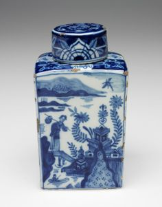 RISD Museum: Jan Van Duijn, designer. Dutch, ca. 1760. De Porceleyne Schotel (The Porcelain Dish), manufacturer. Dutch, 1598 - 1791. Tea Caddy, ca. 1760. Earthenware with tin glaze and enamel. 14.3 x 7 cm (5 5/8 x 2 13/16 inches). Bequest of Susan Martin Allien 35.649
