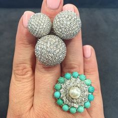 I am in love with this #turquoise #diamond and #pearl #ring #lot275 from the upcoming #bonhams #californiajewels auction happening #tommorow in #losangeles #california $1000-1500 and #lot112 from the #bonhamsny #finejewelry #auction #june22 #jewelrycrush #showmeyourrings #jewelryisart #bonhamsjewels #disco #party