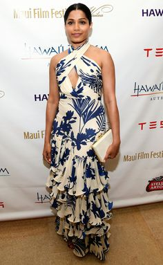 Freida Pinto is radiant in yellow floral blouse at Maui Film Festival Freida Pinto, Best Celebrity Dresses, Celebrity Style, Coloured Girls, Red Carpet Gowns, India, Red Carpet Fashion, Floral Blouse, Maui